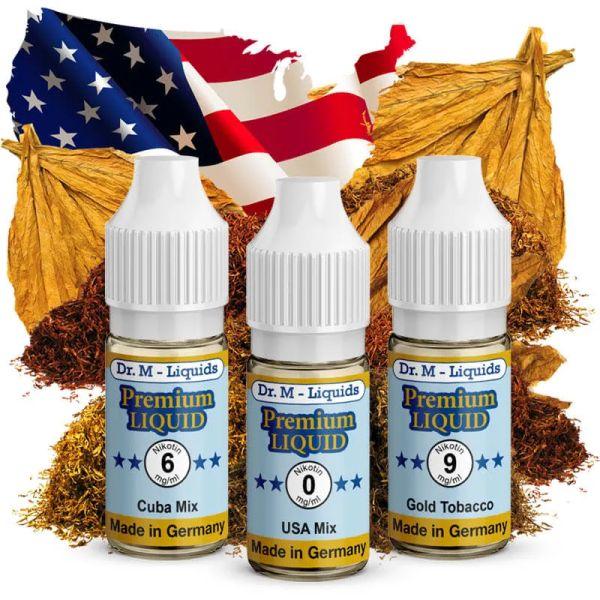 Dr.M - Liquids - Probierset: TABAK - Gold Tobacco, Cuba Mix & USA Mix