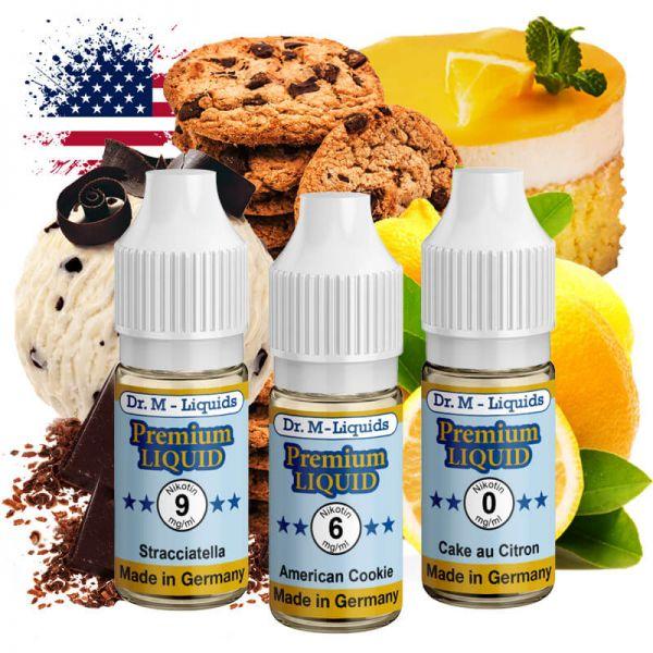 Dr.M - Liquids - Probierset DESSERT - American Cookie, Cake au Citron & Stracciatella
