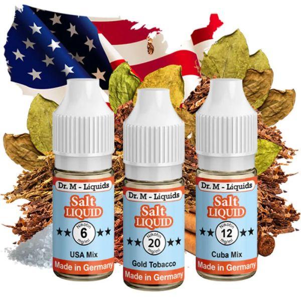 Dr.M - Liquids - Probierset SALT TABAK - Gold Tobacco, Cuba Mix & USA Mix
